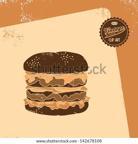 vintage clip art retro theme large burger - stock vector