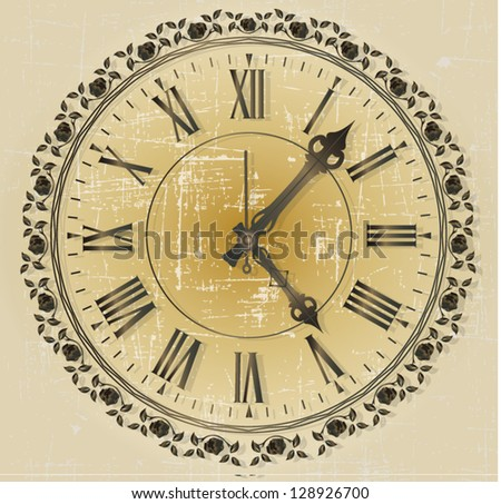Vintage clock - stock vector
