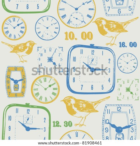 vintage clock and bird. seamless design - stock vector