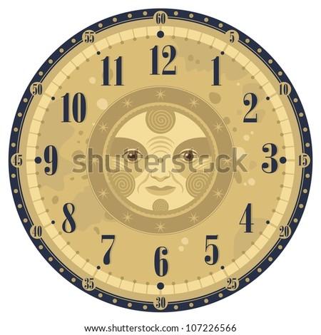 Vintage Clock Face Template Decorative Sun Stock Vector