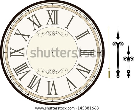 vintage clock face template with hour, minute and second hands to make your own time isolated on white background - stock vector