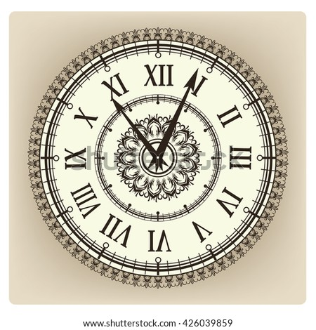 Vintage Clock Face Floral Ornament Curly Stock Vector