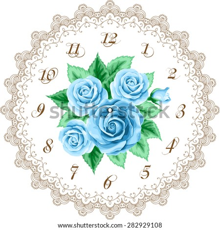 Vintage clock face with roses. Shabby chic vector illustration - stock vector