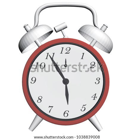 Vintage clock with an alarm. The clock shows an early morning time when it's time to get up. 3D. Vector illustration.