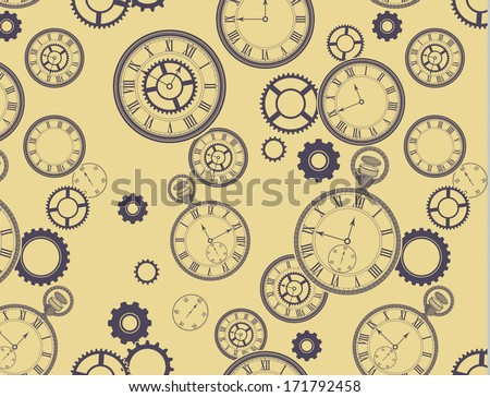 Vintage Clocks Pattern - Seamless pattern (included in swatches palette in EPS file), with different clocks, pocket watches, stopwatches and gears