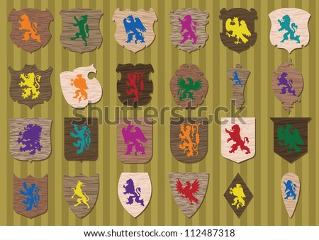 Vintage coat of arms detailed wooden texture shields collection background illustration vector - stock vector