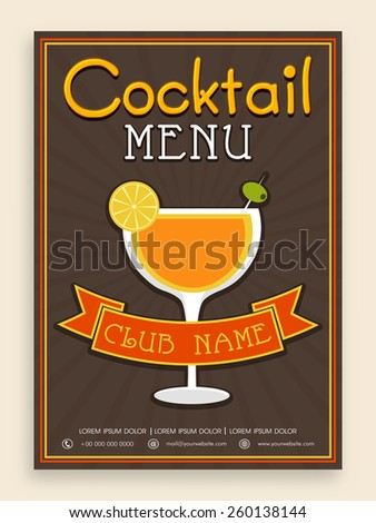 Vintage Cocktail menu card design for club, pub, night parties and beer bar. - stock vector