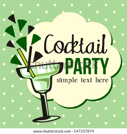 Vintage Cocktail Party Invitation - stock vector