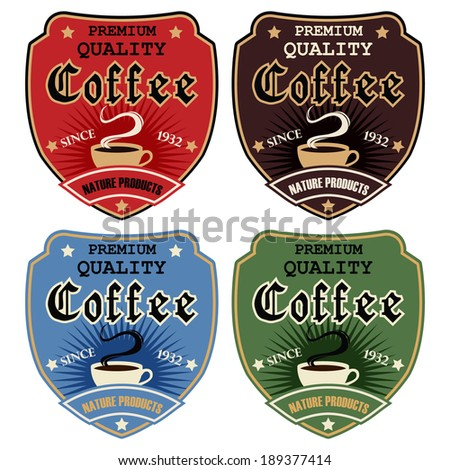 Vintage coffee badges and labels. - stock vector