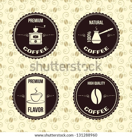 vintage coffee labels - stock vector