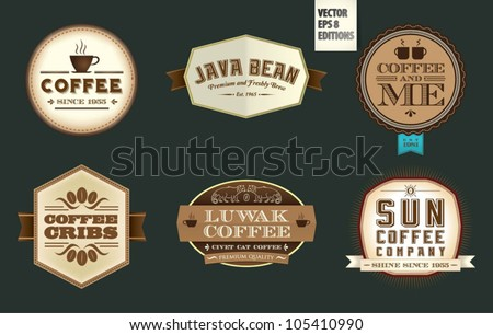Vintage Coffee Labels & Badges - stock vector