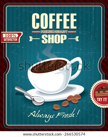 Vintage coffee poster design with spoon and coffee bean - stock vector