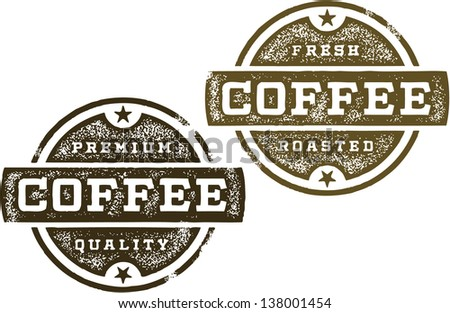 Vintage Coffee Premium Stamps - stock vector