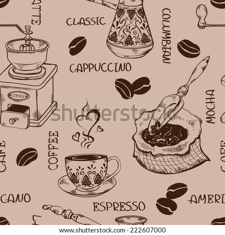 Vintage coffee seamless pattern with pot, grinder, cup, beans, bag and scoop - stock vector