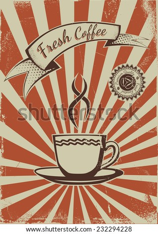 Vintage Coffee shop advertisement poster. EPS10 Vector template  - stock vector