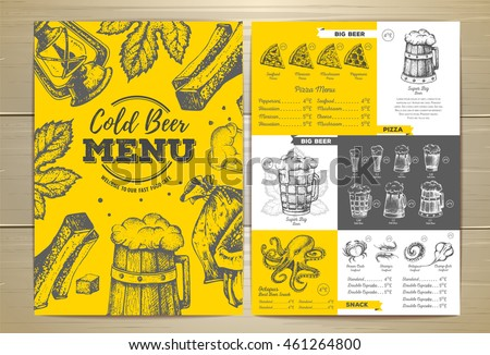 Vintage cold beer menu design