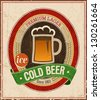 Vintage Cold Beer Poster. Vector illustration. - stock vector