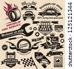 Vintage collection of car related signs, logos, icons and symbols with various design elements, ribbons and emblems. - stock photo