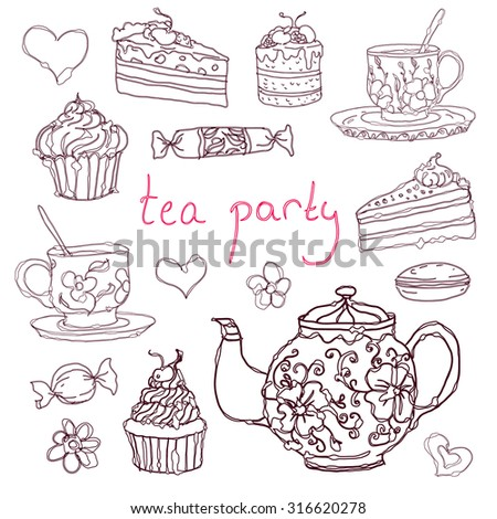 Vintage collection of desserts. Sketches hand-drawn of tea cups, kettle and desserts. Vector illustration.