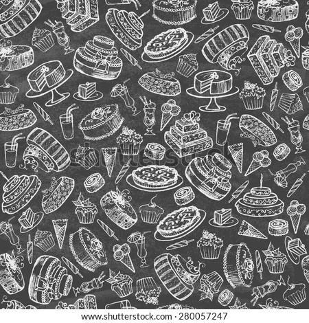 Vintage collection of desserts. Sketches of desserts hand-drawn with chalks on the blackboard. Seamless pattern. Vector illustration.