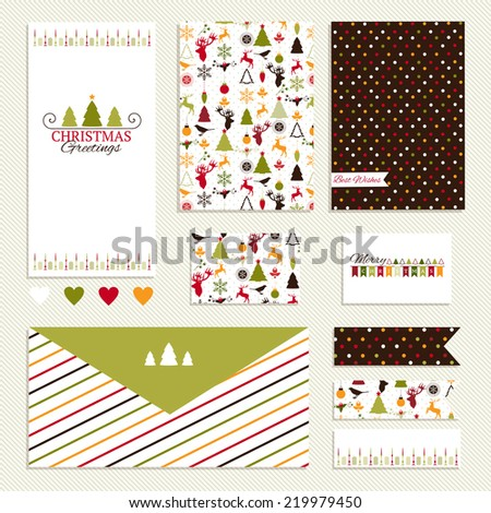 Vintage collection of vector Christmas and New year design elements - envelope, cards, brochure, stickers, ribbons, invitation. Decorative  greeting cards with decorative colorful stripes and dots. - stock vector