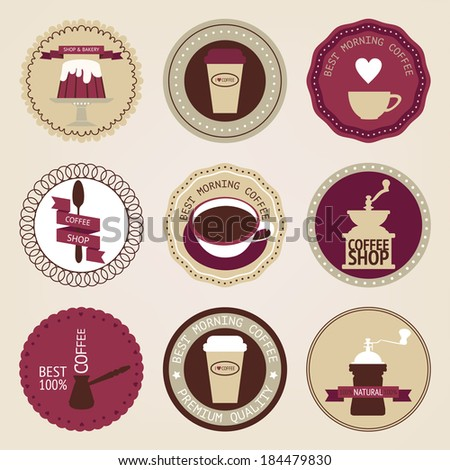 Vintage collection of vector coffee circles. Retro coffee sticker - stock vector