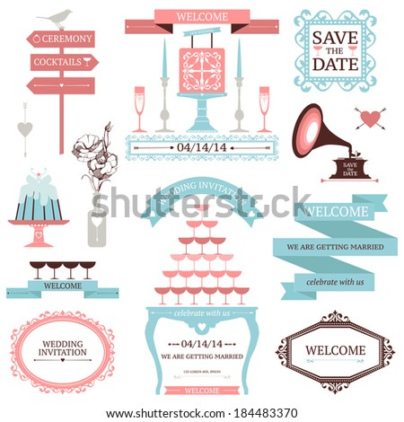 Vintage collection of Vector wedding design elements. Decorative set of holiday objects and signs - stock vector