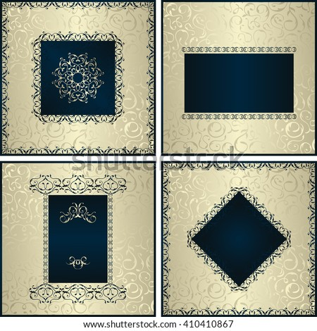 Vintage collection with four cards with blue decor and silver seamless background