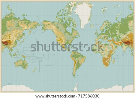 Vintage color america centered physical world stock vector vintage color america centered physical world map no text vector illustration gumiabroncs Image collections