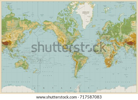 Vintage Color America Centered Physical World Map. Vector illustration.