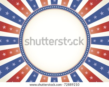 Vintage color American theme with star bordered circle copy space in center - stock vector