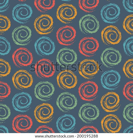 Vintage Color Geometric Seamless Pattern with Spiral Element. Vector Background - stock vector