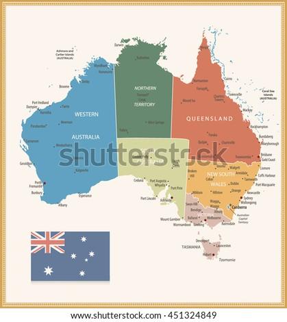 Vintage Color Political Map Australia All Stock Vector 451324849 ...