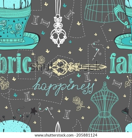 Vintage Color Seamless pattern - fashion and sewing, illustration, VECTOR - stock vector