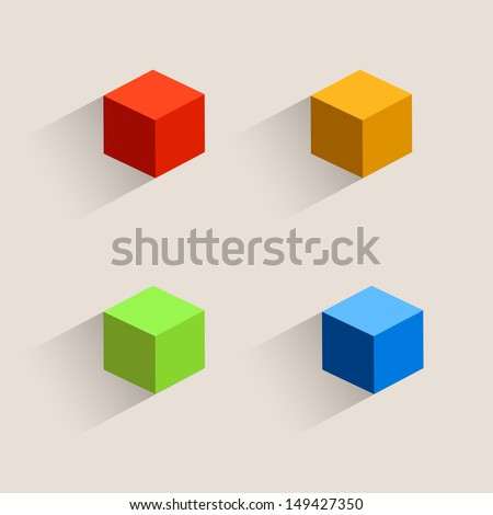 Vintage color set cubes icons, Isometric box icon. Vector illustration - stock vector