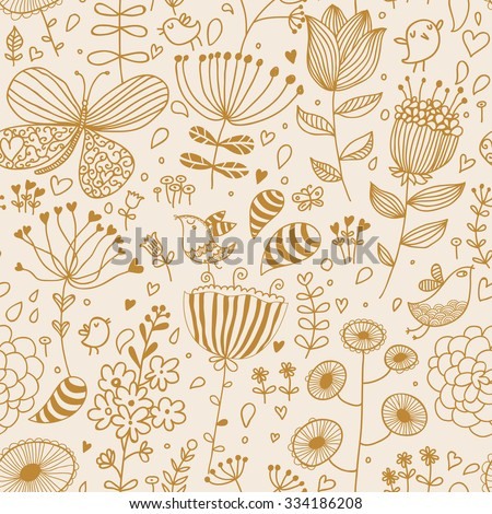 Vintage colored cartoon birds and butterflies in flowers. Romantic seamless pattern in ocher colors