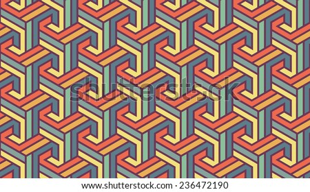Vintage Colored Geometric Seamless for Printing on Fabric Abstract Background with Pattern in Swatches Panel  - stock vector