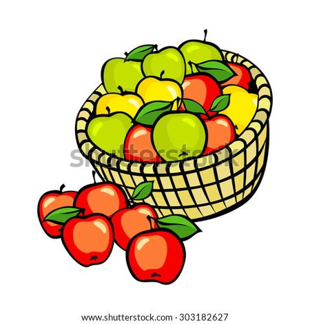 Vintage colorful apple harvest set. Fully editable EPS10 vector. art
