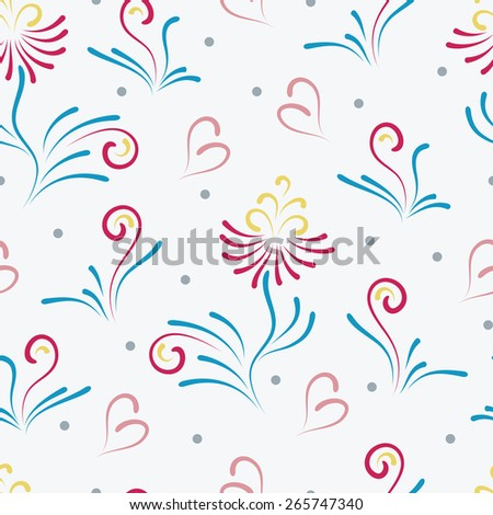 Vintage Colorful floral seamless pattern. Vintage floral seamless pattern. Abstract flowers background. - stock vector