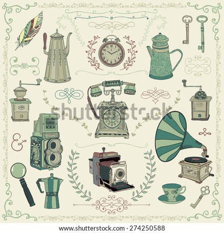 Vintage Colorful Hand Drawn Doodle Icons, Objects and Design Elements. Vector Illustration. Cameras, Kettles, Coffee Mills - stock vector
