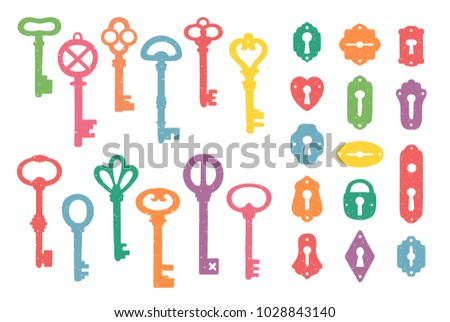 Vintage colorful keys and keyholes collection. Vector illustration.