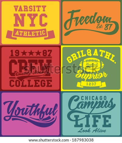 vintage colors college label set - stock vector