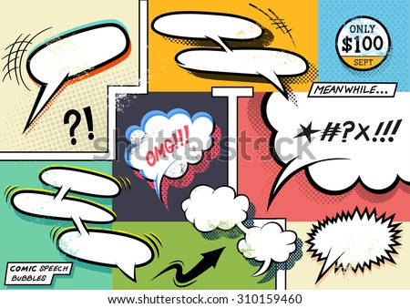 Vintage Comic Book Speech Bubbles. A set of colourful and retro comic book design elements with speech bubbles! Vector illustration. - stock vector