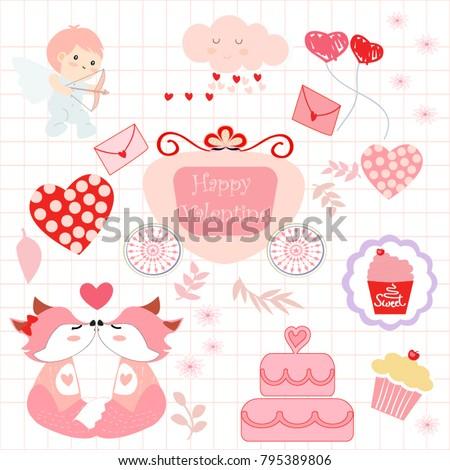 Vintage comic cartoon cute valentine dayanimal stock vector hd vintage comic cartoon cute valentine dayanimal foxcupidcakeballoon voltagebd Choice Image