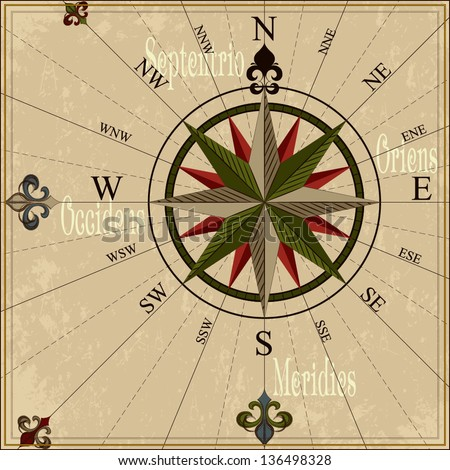 Vintage compass rose Nautical vector illustration with wind-rose - stock vector