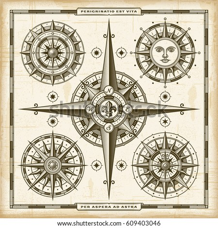 Vintage Compass Roses Set EPS10 Vector Illustration In Retro Woodcut Style With Transparency