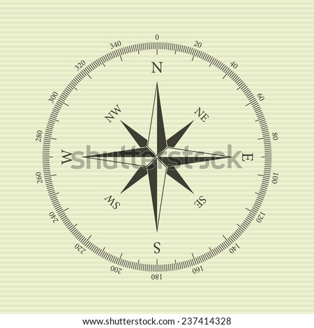 Vintage compass with wind-rose. Isolated on yellow background. Vector illustration, eps 8. - stock vector