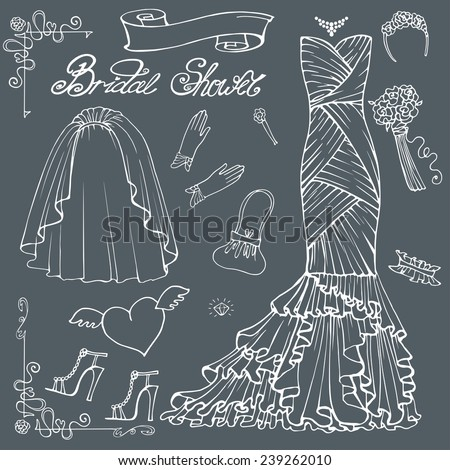 Vintage composition of wedding long dress with handbag, high heel shoes ,veil,garter,rose bouquet ,gloves,swirling border.Retro romantic.Fashion bridal shower vector Illustration - stock vector