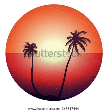 Vintage concept of sunset in tropical beach for sticker, poster, t-shirt, print. Hello summer. Vector  - stock vector