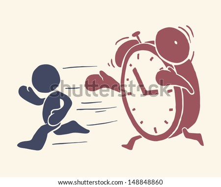 Vintage conceptual illustration of Â?Â?time is running out - stock vector